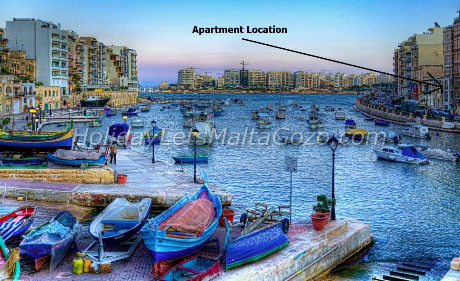 Apartment location on Spinola Bay